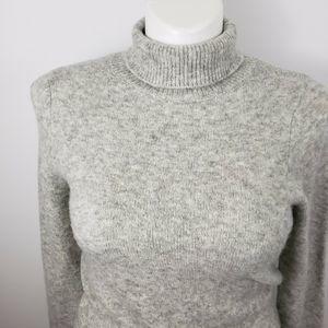 ASOS Dresses - ASOS 10 faux wrap gray knit sweater sheath dress